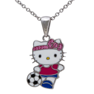 jcpenney.com | Girls Stainless Steel Pink Crystal Hello Kitty Soccer Pendant  Necklace
