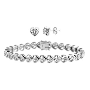 jcpenney.com | DiamonArt® Cubic Zirconia Line Bracelet & Earrings Heart Set