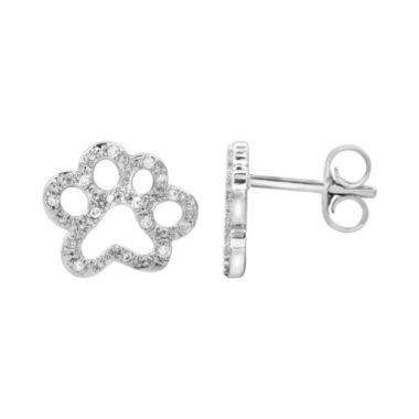 jcpenney.com | ASPCA® Tender Voices™ 1/10 CT. T.W. Diamond Paw Print Earrings