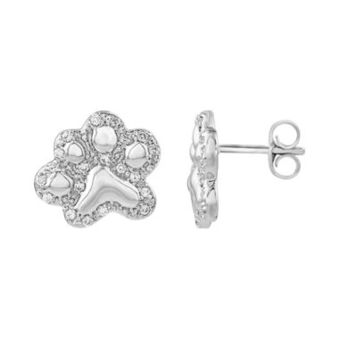 jcpenney.com | ASPCA® Tender Voices™ 1/6 CT. T.W. Diamond Paw Print Stud Earrings