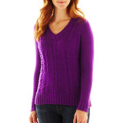 St. John's Bay® Cable-Knit V-Neck Sweater