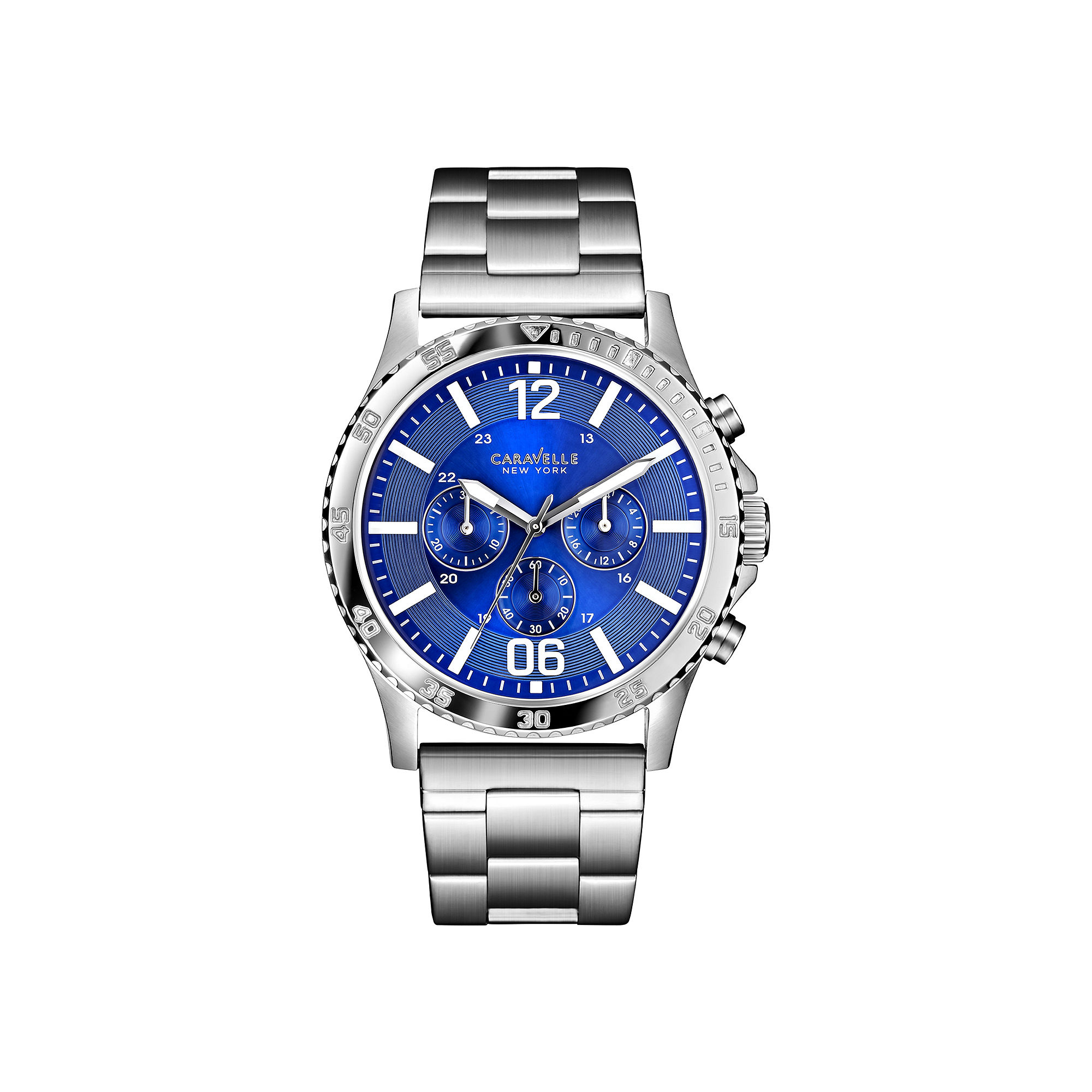 Caravelle New York Mens Blue Dial Silver-Tone Bracelet Watch 43A116