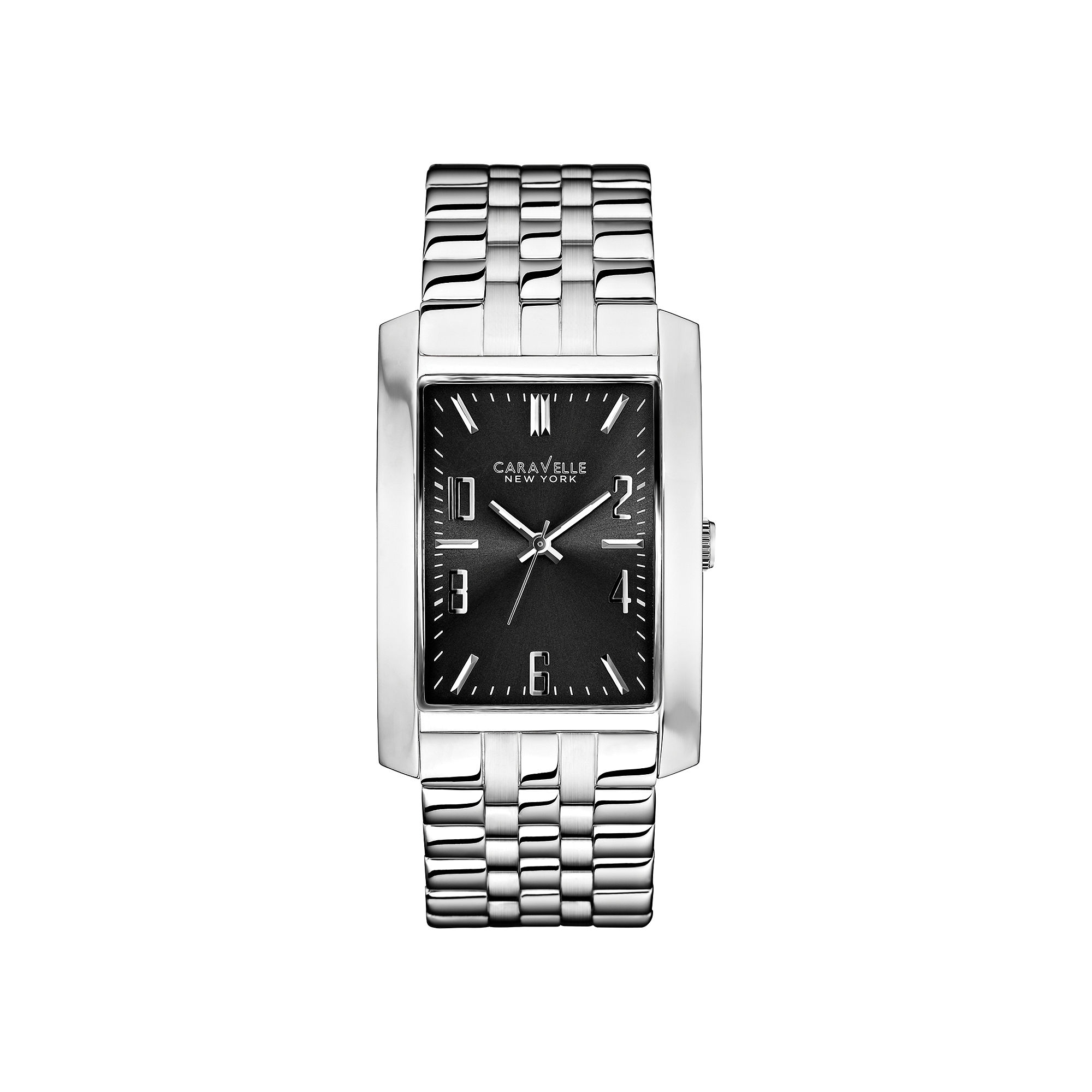 Caravelle New York Mens Gray Rectangle Dial with Silver-Tone Watch 43A118