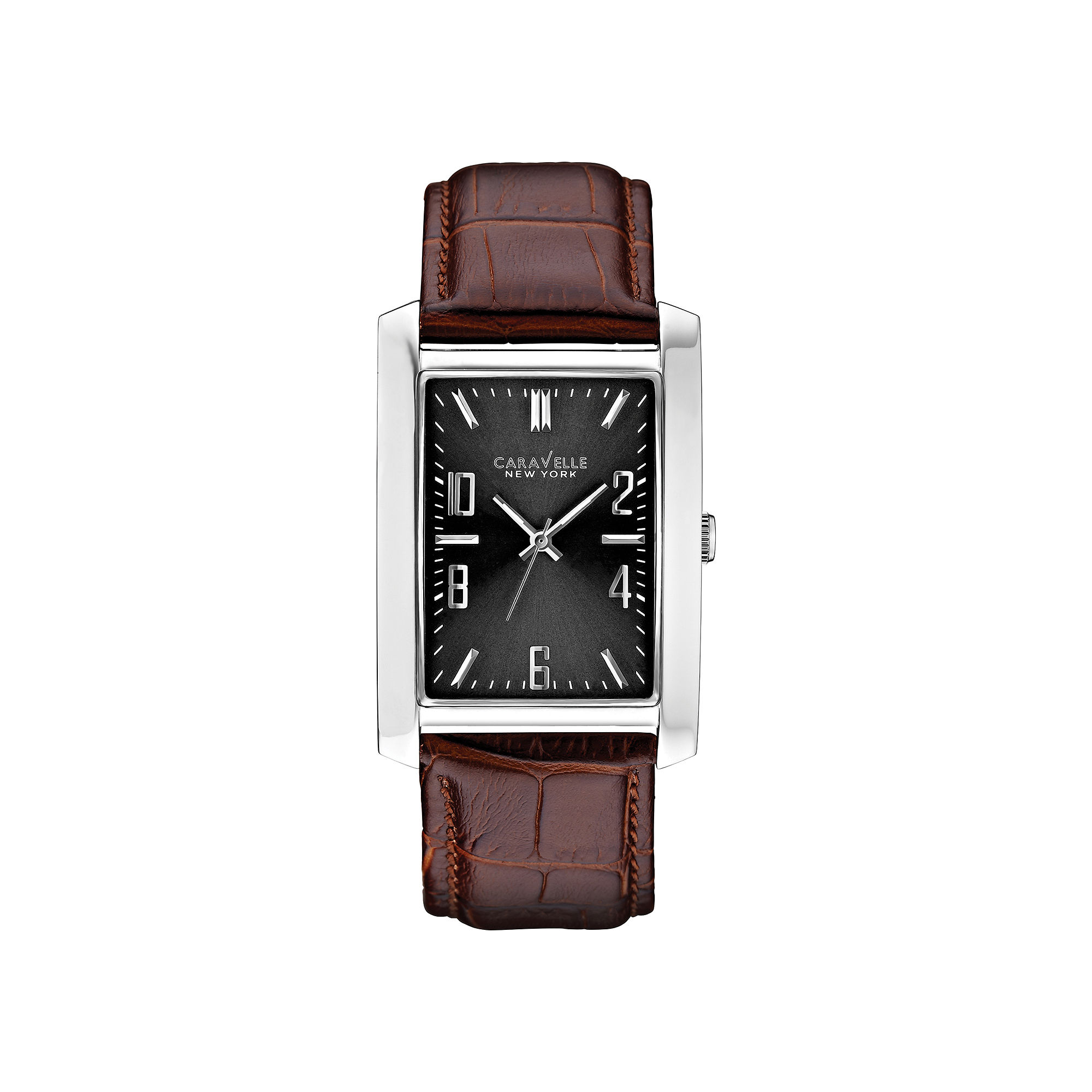 Caravelle New York Mens Gray Rectangle Dial Brown Leather Strap Watch 43A119