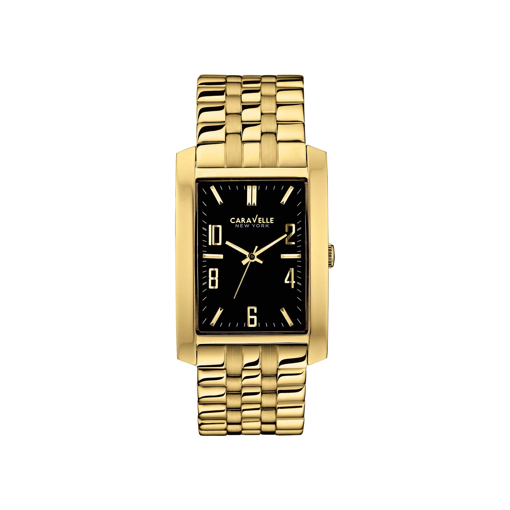 Caravelle New York Mens Black Rectangle Dial & Gold-Tone Bracelet Watch 44A103