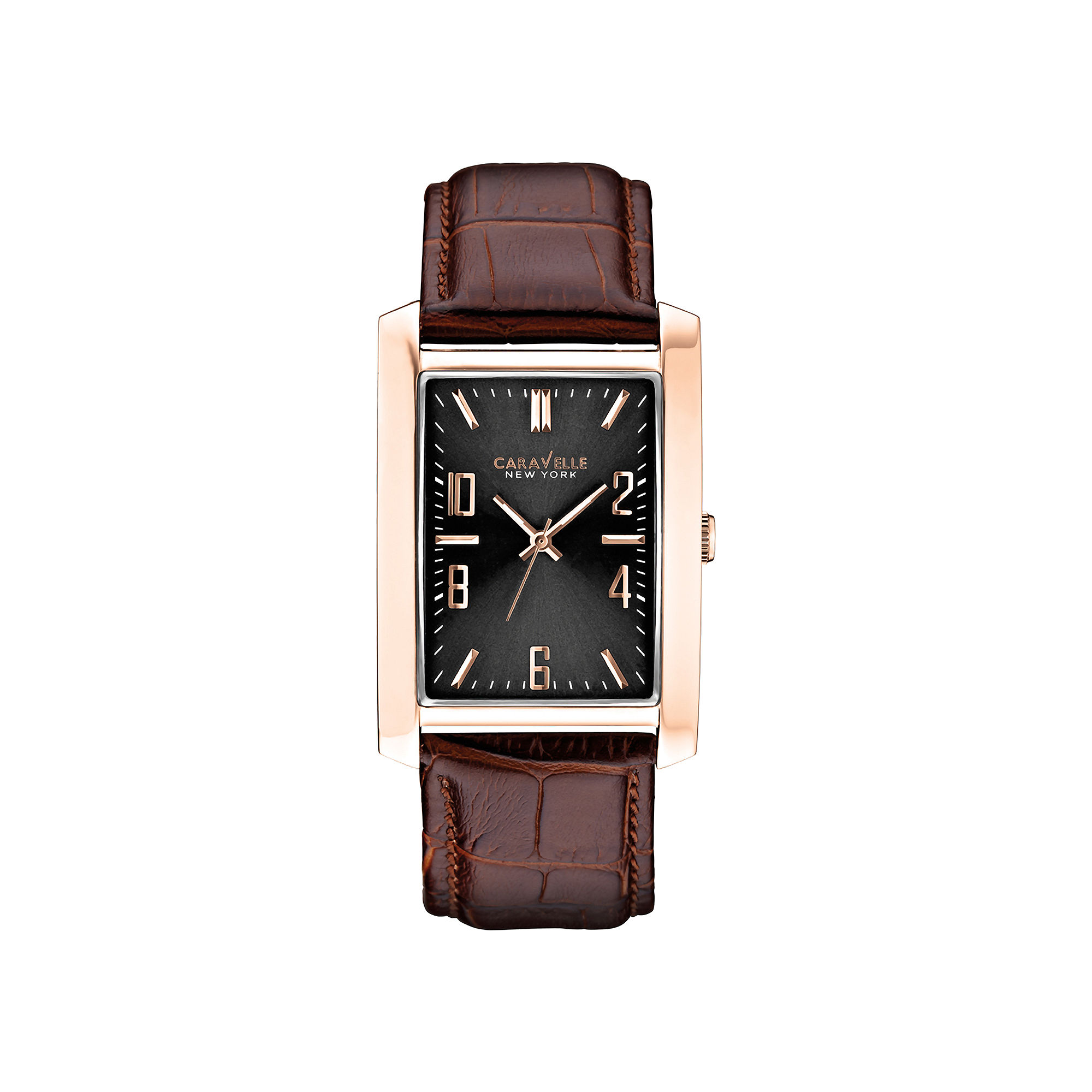 Caravelle New York Mens Black Rectangular Dial & Leather Strap Watch 44A104