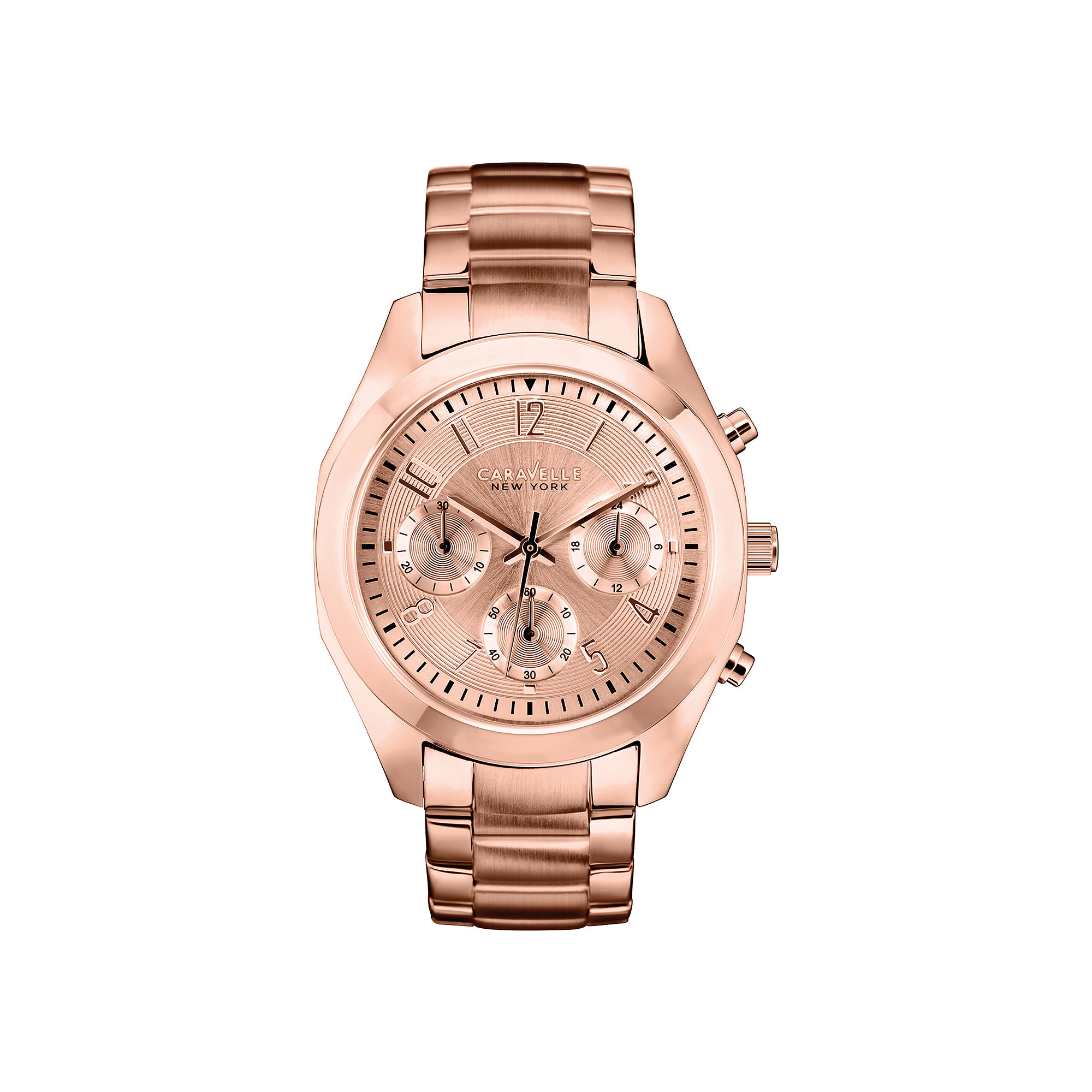 Caravelle New York Womens Rose-Tone Dial Rose-Tone Chronograph Watch 44L115