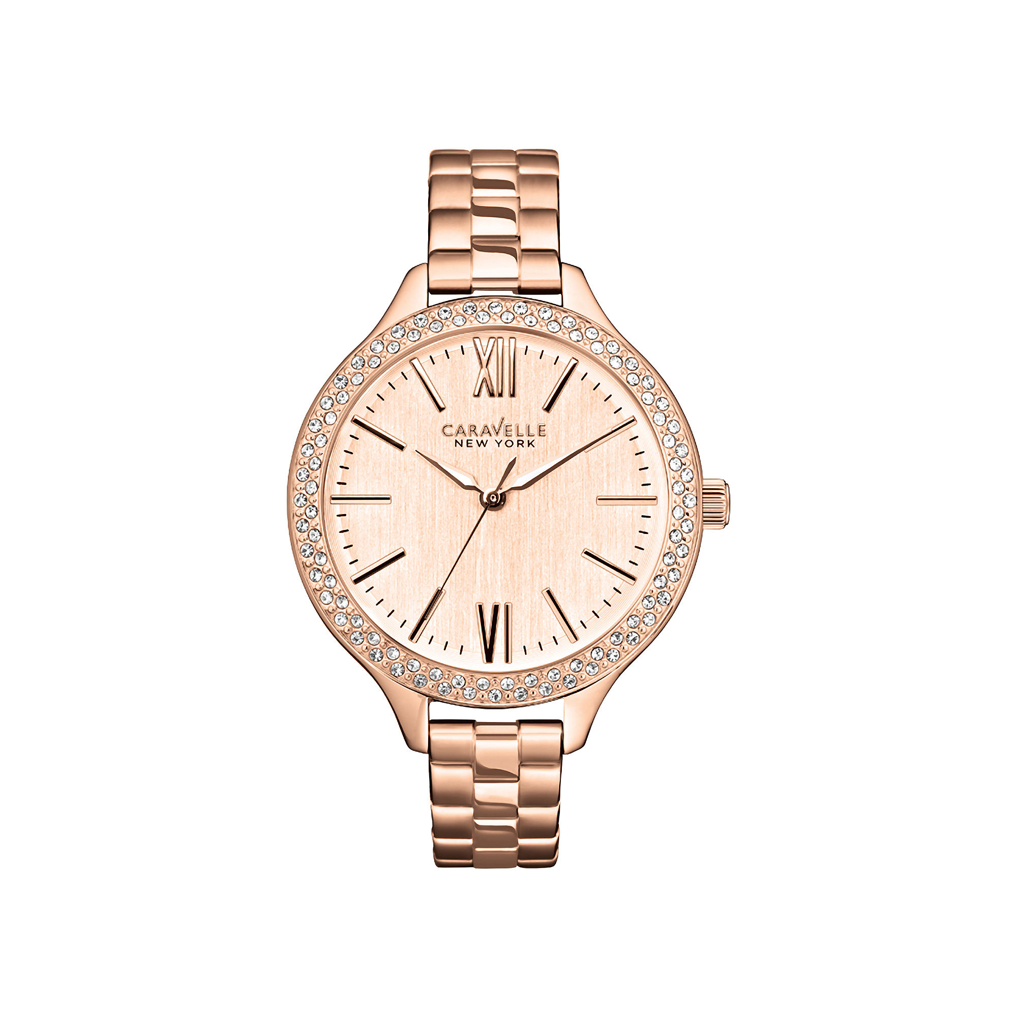 Caravelle New York Womens Rose-Tone Dial & Bracelet Watch 44L125