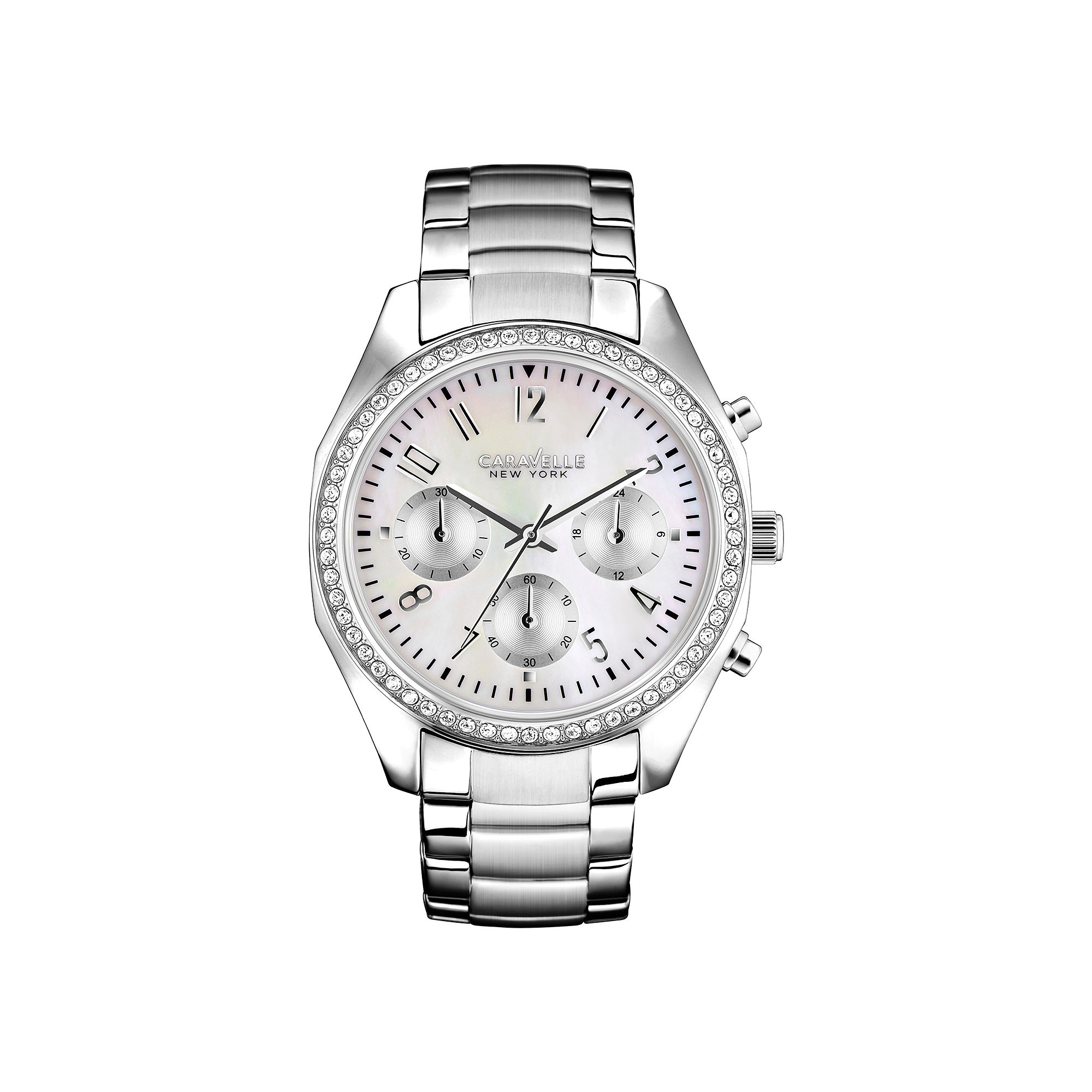 Caravelle New York Womens Mother-of-Pearl Dial Silver-Tone Watch 43L159