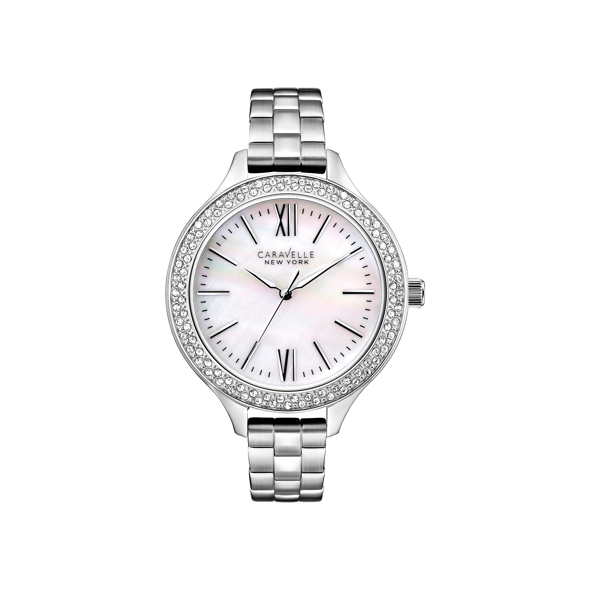 Caravelle New York Womens Mother-of-Pearl Dial Silver-Tone Watch 43L165