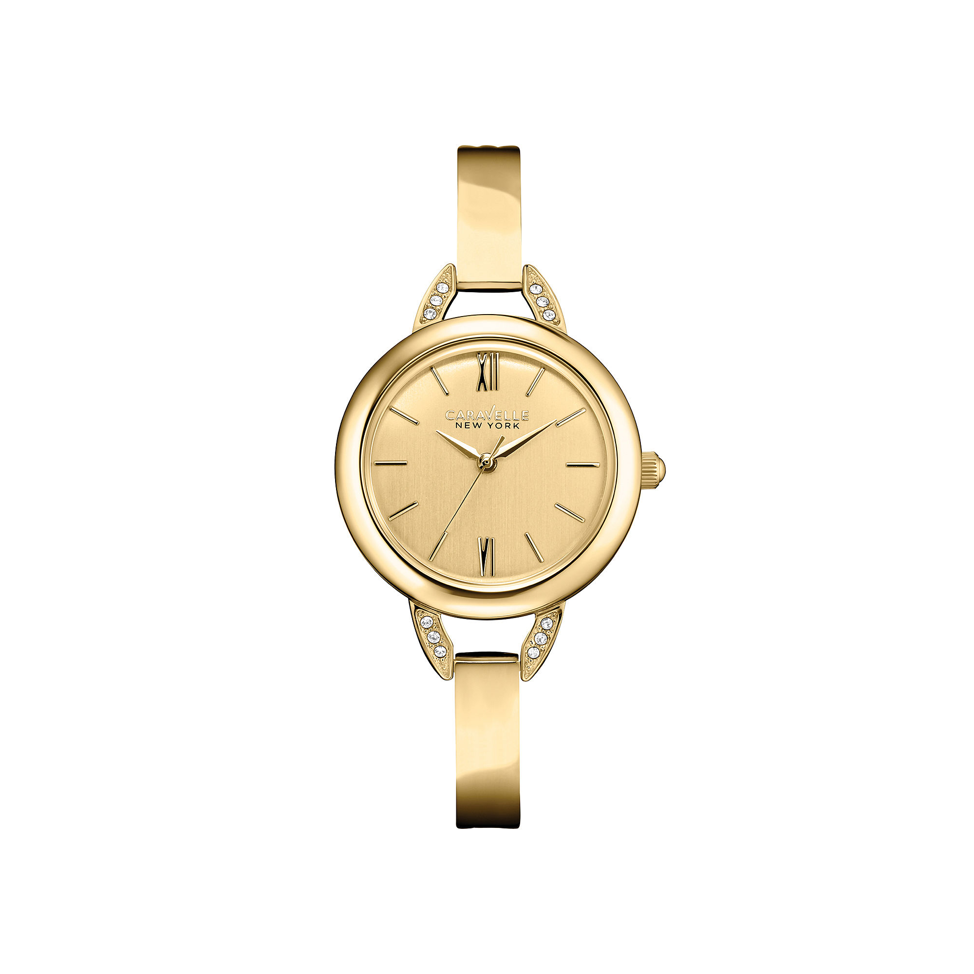 Caravelle New York Womens Champagne Dial & Gold-Tone Bangle Watch 44L129