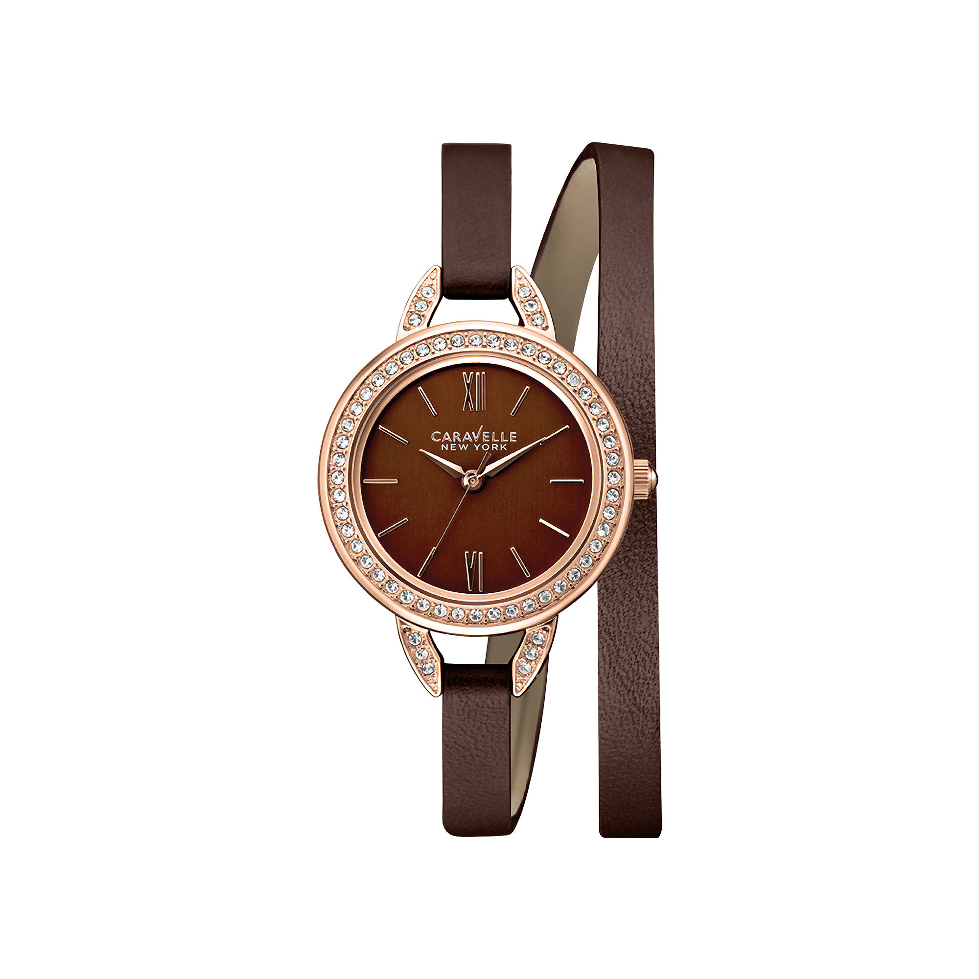 Caravelle New York Womens Brown Dial & Brown Leather Strap Watch 44L130