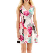 Worthington® Sleeveless Fit-and-Flare Scuba Dress - Petite