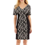 Perceptions Elbow-Sleeve Jacquard-Print Dress - Petite