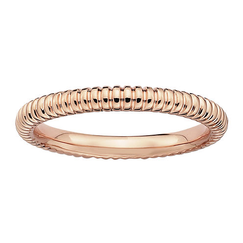 Personally Stackable 14K Rose Gold Over Sterling Silver 3.25 mm Ribbed Ring