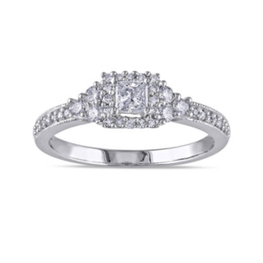 jcpenney.com | 1/2 CT. T.W. Princess-Cut and Round Diamond 14K White Gold Ring