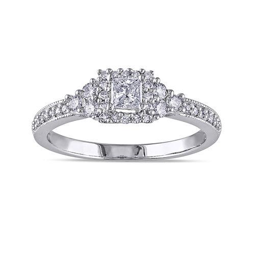 1/2 CT. T.W. Princess-Cut and Round Diamond 14K White Gold Ring
