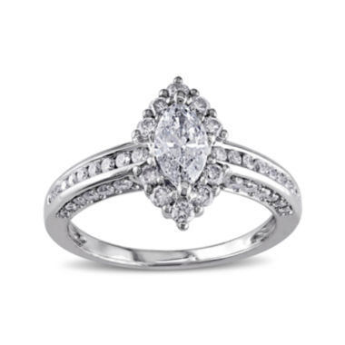 jcpenney.com | 1¼ CT. T.W. Marquise and Round Diamond 14K White Gold Ring