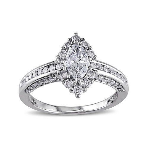 1¼ CT. T.W. Marquise and Round Diamond 14K White Gold Ring