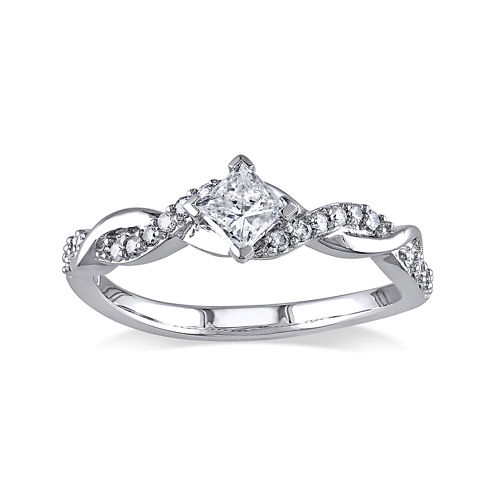 1/2 CT. T.W. Diamond 14K White Gold Twist Ring