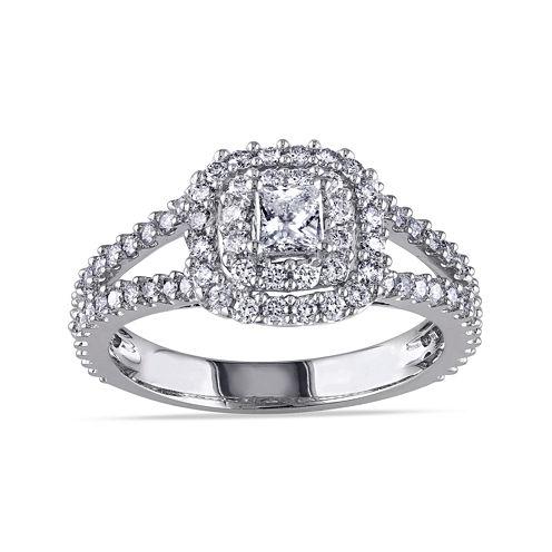 1 CT. T.W. Princess-Cut Center Diamond 14K White Gold Double-Frame Ring