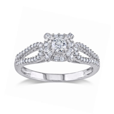jcpenney.com | 1/2 CT. T.W. Diamond 14K White Gold Halo Ring