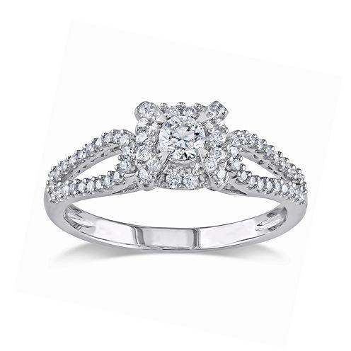 1/2 CT. T.W. Diamond 14K White Gold Halo Ring