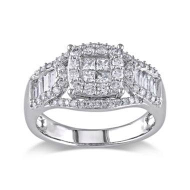 jcpenney.com | 1-1/10 CT. T.W. Diamond 14K White Gold Quad-Stone Center Ring