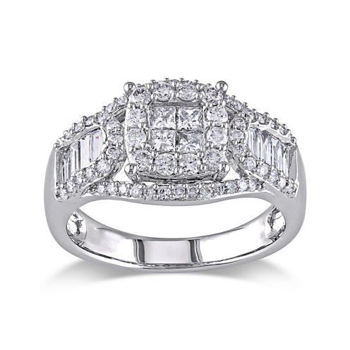 1-1/10 CT. T.W. Diamond 14K White Gold Quad-Stone Center Ring