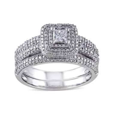 jcpenney.com | 1/2 CT. T.W. Diamond 14K White Gold Bridal Ring Set