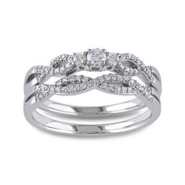 jcpenney.com | 1/3 CT. T.W. Diamond 10K White Gold Twist Bridal Ring Set