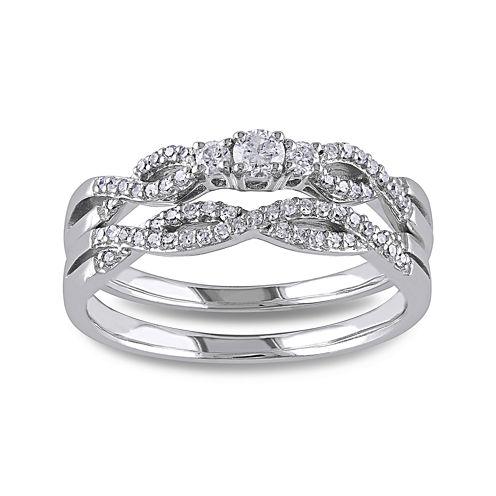 1/3 CT. T.W. Diamond 10K White Gold Twist Bridal Ring Set