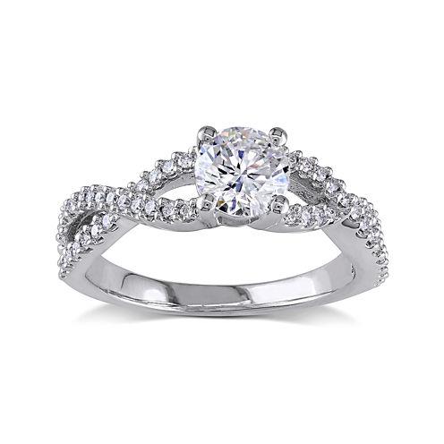 1 CT. T.W. Diamond 14K White Gold Twist Sides Ring