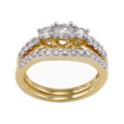 1 CT. T.W. Diamond 3-Stone 14K Yellow Gold Bridal Ring Set