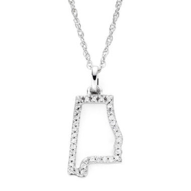 jcpenney.com | 1/10 CT. T.W. Diamond Sterling Silver Alabama State Pendant Necklace