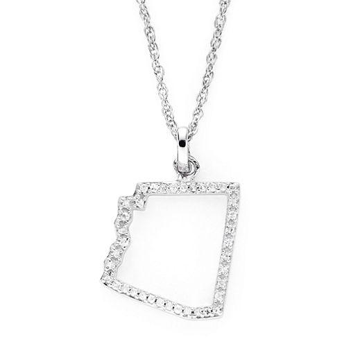 1/10 CT. T.W. Diamond Sterling Silver Arizona State Pendant Necklace
