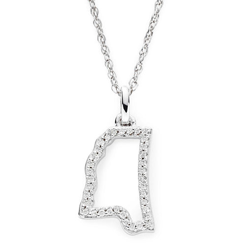 1/10 CT. T.W. Diamond Sterling Silver Mississippi State Pendant Necklace