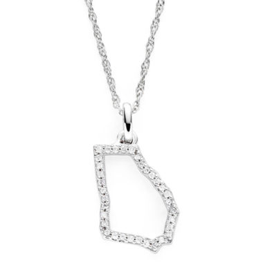 jcpenney.com | 1/10 CT. T.W. Diamond Sterling Silver Georgia State Pendant Necklace