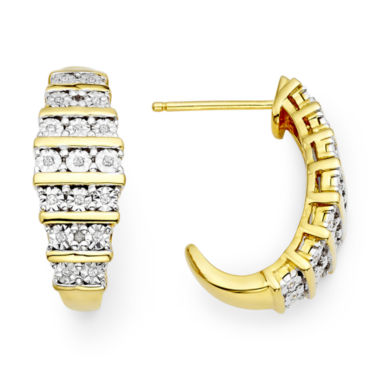 jcpenney.com | 1/10 CT. T.W. Diamond 14K Yellow Gold Over Sterling Silver Hoop Earrings