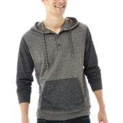 Retrofit Pullover Henley Hoodie with Contrasting Pocket