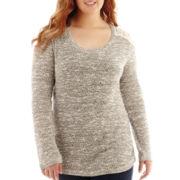 Arizona Long-Sleeve Lace-Shoulder Hatchi Sweater - Plus