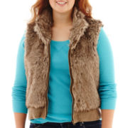 Arizona Sleeveless Full-Zip Faux-Fur Vest - Plus