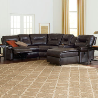 jcpenney.com | Brinkley 5-pc. Faux-Leather Reclining Chaise Motion Sectional