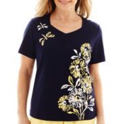 Alfred Dunner® Fresh Take Short-Sleeve Asymmetrical Floral Knit Top