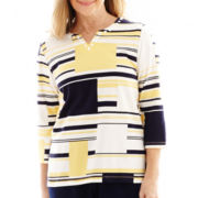 Alfred Dunner® Fresh Take 3/4-Sleeve Abstract Colorblock Knit Top