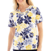 Alfred Dunner® Fresh Take Short-Sleeve Floral Knit Top