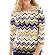 Alfred Dunner® Fresh Take 3/4-Sleeve Biadere Zigzag Knit Top