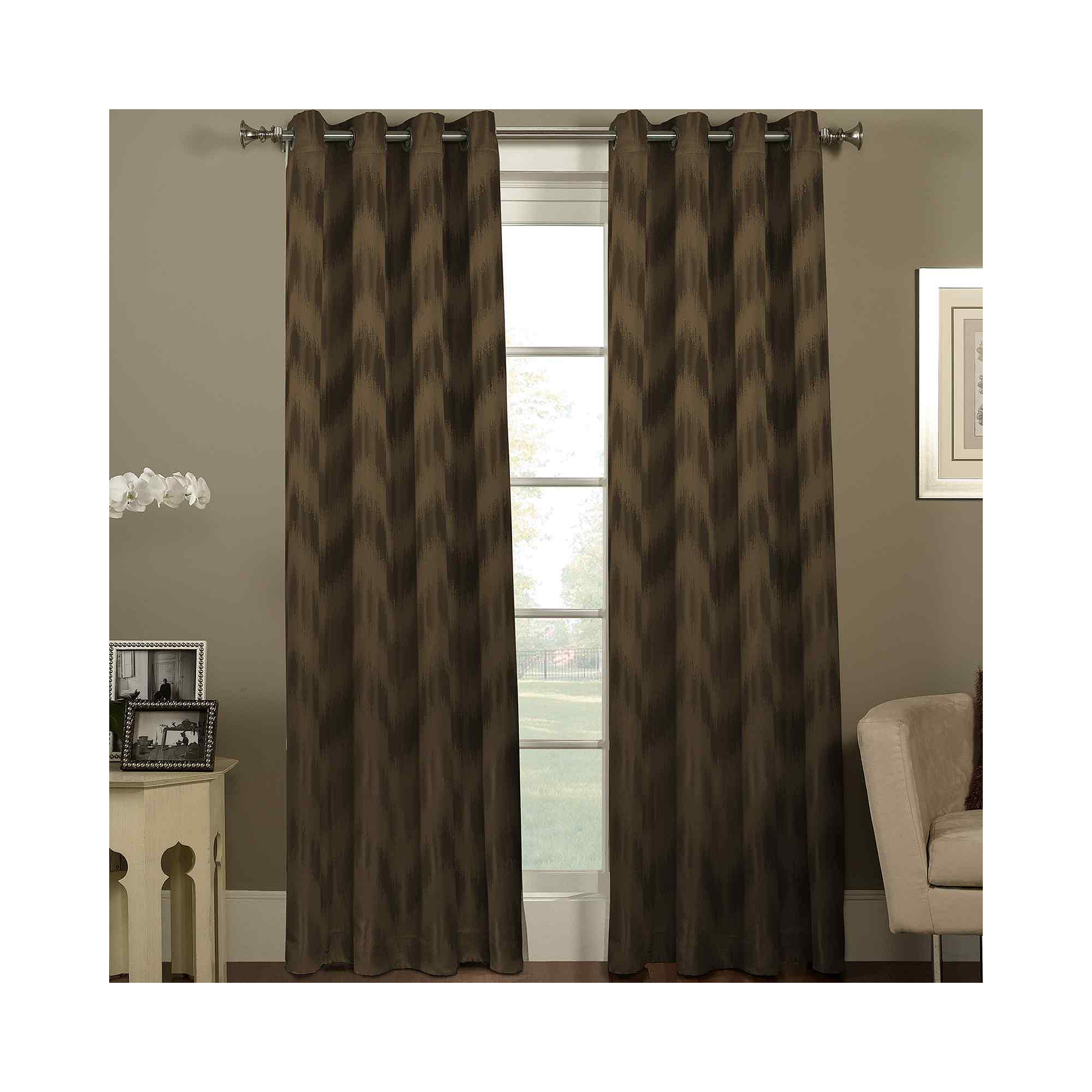Jcpenney Coupons For Ikat Chevron Grommet Top Curtain Panel