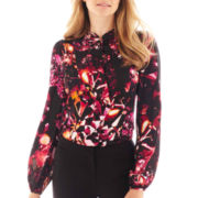 Worthington® Long-Sleeve Ruffle-Front Blouse - Tall