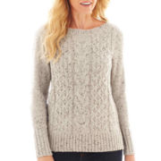 St. John's Bay® Long-Sleeve Boatneck Cable Sweater